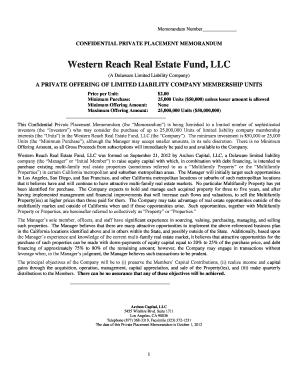 Real estate fund private placement memorandum pdf files
