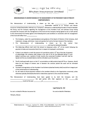 MEMORANDUM OF UNDERSTANDING OF THE MANAGEMENT OF THE