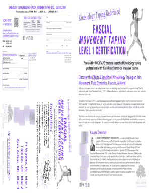 KINESIOLOGY TAPING REDEFINED: FASCIAL MOVEMENT TAPING LEVEL 1 CERTIFICATION Please select a date &amp