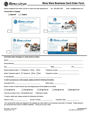 Rena Ware Business Card Order Form