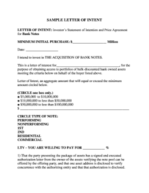 SAMPLE LETTER OF INTENT - Paper Power Note Investing