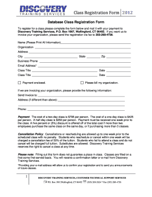 Class Registration Form - Discovery Training