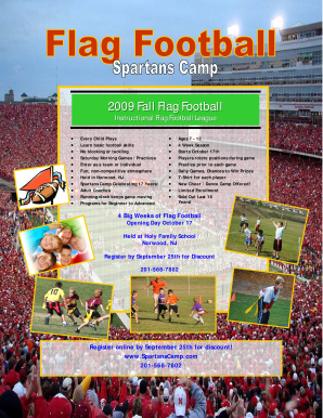Flag football flyer 2009 - Spartans Sports Camp