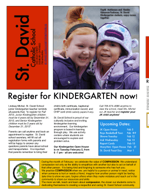 Our JK teacher and Register for KINDERGARTEN now Upcoming