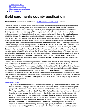 graphic about Printable Gold Card Application Harris County titled Gold card harris county bapplicationb Fill On the web, Printable