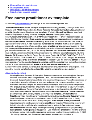 Free nurse practitioner cv template