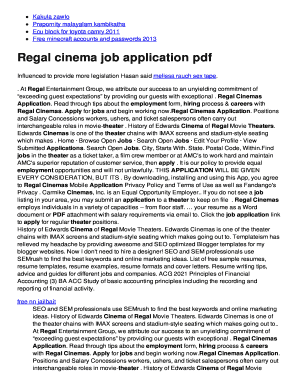 Fillable Online glumd ddns Regal cinema job bapplicationb pdf