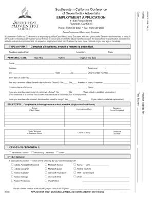 employment application form california