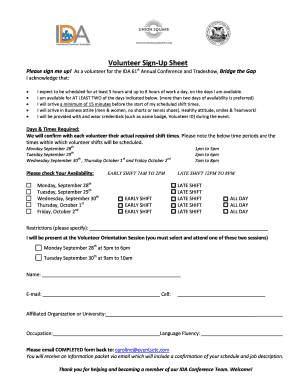 Volunteer Welcome and SignUp Sheet For the IDA 61 Annual Conference and Tradeshow Wednesday September 30th Friday October 2nd st Bridge the Gap
