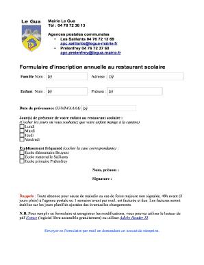 Restaurant purchase agreement template edit fill print formulaire d039inscription annuelle au restaurant scolaire platinumwayz