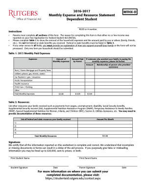 20162017 Monthly Expense and Resource Statement Dependent Student RUID or A number Instructions MTHXD Parents must complete all sections of this form - financialaid rutgers