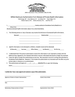 HIPAA Disclosure Authorization Form Release of Private