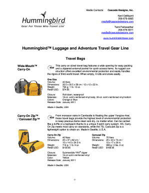 Hummingbird Luggage and Adventure Travel Gear Line