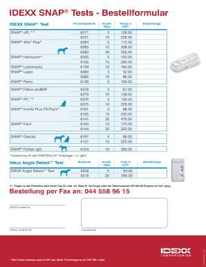 IDEXX SNAP Tests - Bestellformular Fill Online, Printable, Fillable ...