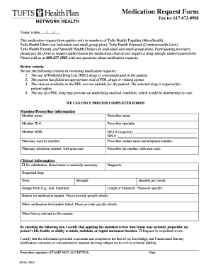 Submit Tufts Health Plan Network Health Medication Request Form Pdf