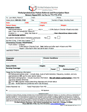 Methylprednisolone Patient Referral and Prescription Sheet Return Signed RX via Fax to 7737752732 To: Lynn Welch, Pharm