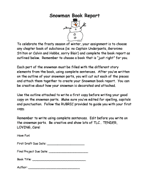 Fillable Online Snowman Book Report - bmrsmckiebbweeblybbcomb Fax Email  Print - PDFfiller