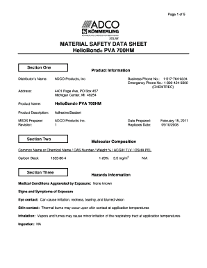 Fillable Online MATERIAL SAFETY DATA SHEET HelioBond PVA 700HM