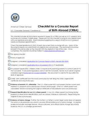 Fillable Online photos state Checklist for a Consular Report of ...