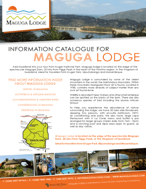 INFORMATION CATALOGUE FOR MAGUGA LODGE