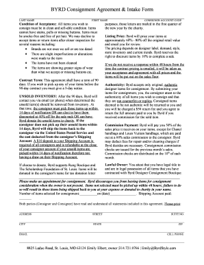 BYRD Consignment Agreement amp Intake Form