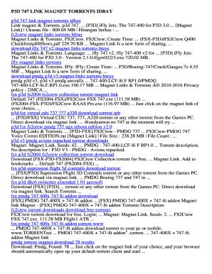 Fillable Online P3d 747 link magnet torrents idbay Download Free p3d