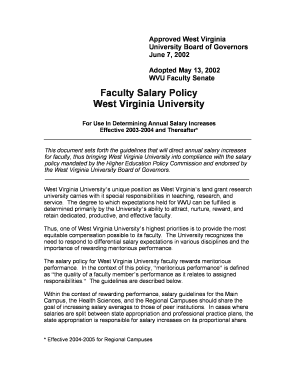 Faculty Salary Policy West Virginia University - WVU Faculty Home