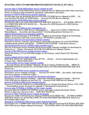 Fillable Online Kyocera mita fs 9100 9500 printer service manual by