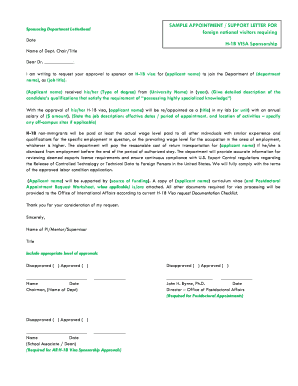 BSAMPLEb APPOINTMENT SUPPORT LETTER FOR foreign national bb