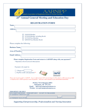 25th Annual General Meeting and Education Day REGISTRATION FORM Name Address $100 - privatepracticenurses