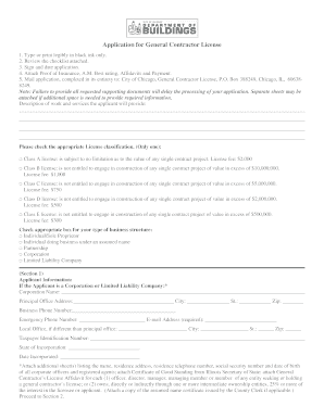 Application for bGeneral Contractorb License - City of Chicago - cityofchicago