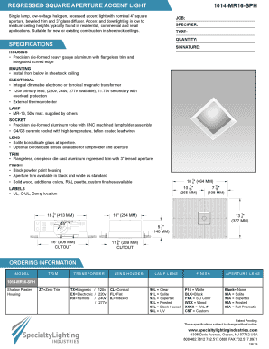 REGRESSED SQUARE APERTURE ACCENT LIGHT 1014MR16SPH Single lamp, lowvoltage halogen, recessed accent light with nominal 4 square aperture, beveled trim and 3 glass diffuser