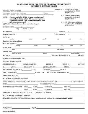 Santa barbara county bprobationb department monthly breportb form