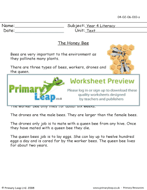 The honey bee - Primary Leap Worksheets Year 4 Literacy Text Work - The honey bee primary resource exercise