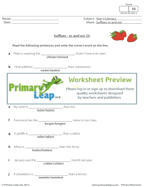 Fillable Online Suffixes - er and est 3 - Primary Leap Worksheets ...