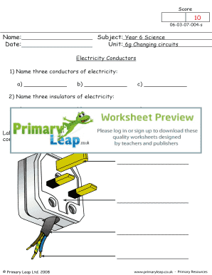 Fillable Online Electricity conductors - Primary Leap Worksheets ...