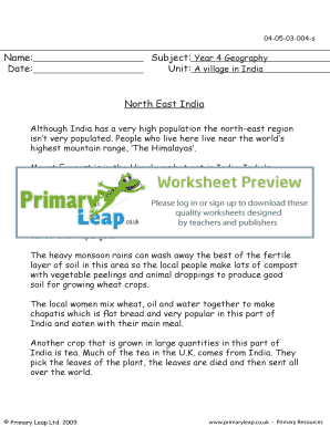 Fillable Online North - East India - Primary Leap Worksheets ...