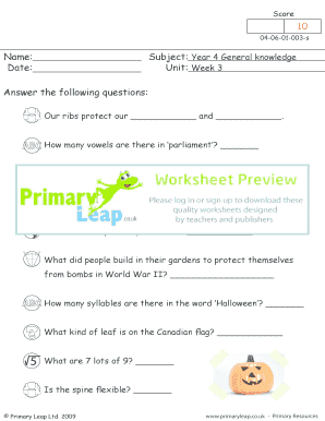 Week 3 - Primary Leap Worksheets.. Year 4, General Knowledge, Weeks 1 - 10 - Week 3 primary resource exercise.