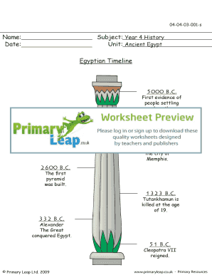 Egyptian Timeline - Primary Leap Worksheets Year 4 History Ancient Egypt - Egyptian Timeline primary resource exercise