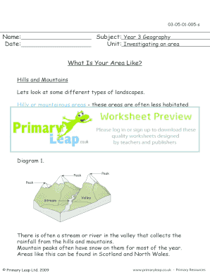 Fillable Online Hills and mountains - Primary Leap