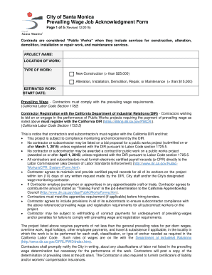 City of Santa Monica Prevailing Wage Job Acknowledgment Form Page 1 of 5 (Revised 12/2015) Contracts are considered Public Works when they include services for construction, alteration, demolition, installation or repair work, and