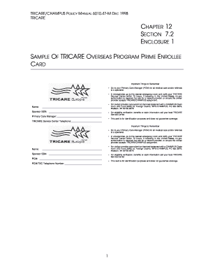 POL Chap 12 Sect 72 -- Sample Of TRICARE Overseas Program Prime Enrollee Card Enclosure 1 TricareCHAMPUS Policy Manual POL Chap 12 Sect 72