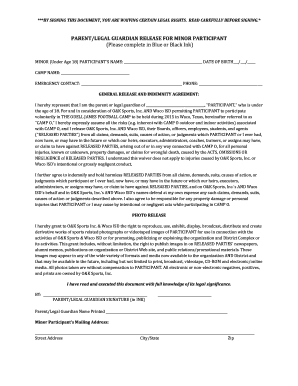Minor Consent to Participation/Release Form - The Odell James ...