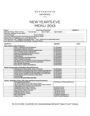 NEW YEAR'S EVE MENU 2013 - Butterfield Market