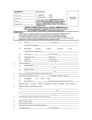Fillable Online Application Form Ghana High Commission In Canada Fax Email Print Pdffiller