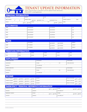 Fillable Online Tenant Update Form - Homes By LMB Fax Email Print ...
