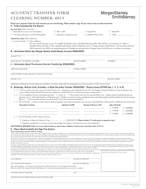 Fillable Online ACCOUNT TRANSFER FORM ClEARiNG NUMbER