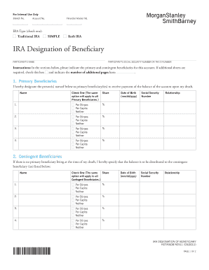Fillable Online Ira Designation Of Beneficiary Morgan
