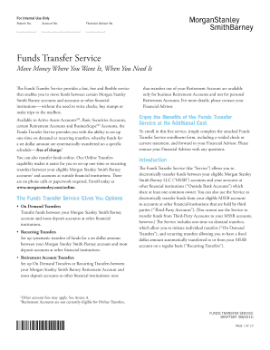 Fillable Online Funds Transfer Service - Morgan Stanley Fax Email