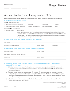 Morgan Stanley Account Transfer Form Clearing Number 0015 - Fill